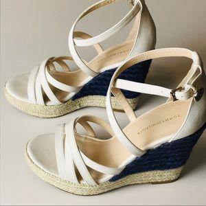 Tommy Hilfiger white strappy braided wedge sandals